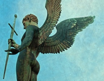38153856 - male angel archangel statue holding a sword